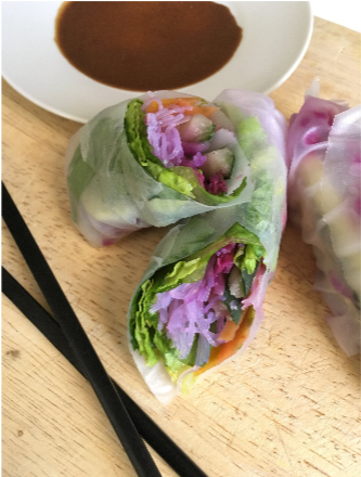 Vietemese Style Vegetable Summer Rolls with Honey Peanut Sauce
