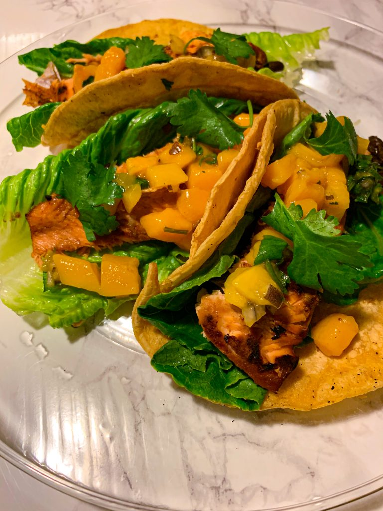 Grilled Salmon Tacos with Mango Salsa